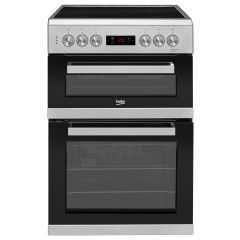Beko KDC653S 60cm Double Oven Electric Cooker with Ceramic Hob - Silver - A Energy Rated