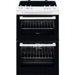 Zanussi ZCV46050WA 55Cm Electric Double Oven With Ceramic Hob Cooker