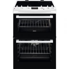 Zanussi ZCV66078WA 60Cm Electric Double Oven With Ceramic Hob - White